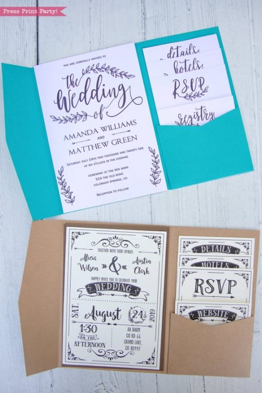 Pocketfold Wedding Invitation Template, Printable & SVG files made from regular cardstock. Pocket wedding Invitations in any color DIY