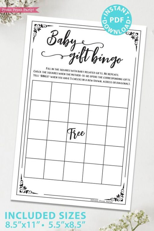 Baby gift bingo game baby shower game printable games instant download Press Print Party!