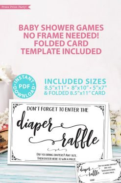 diaper raffle - sign and tickets - game baby shower game printable games instant download Press Print Party!