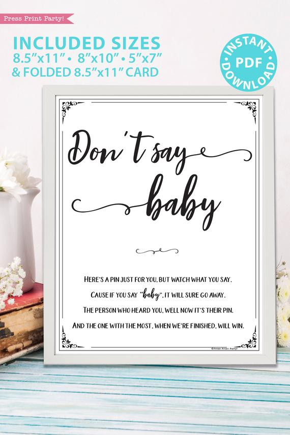 photograph relating to Printable Baby Shower named Dont Say Kid Recreation Indicator Printable, Rustic