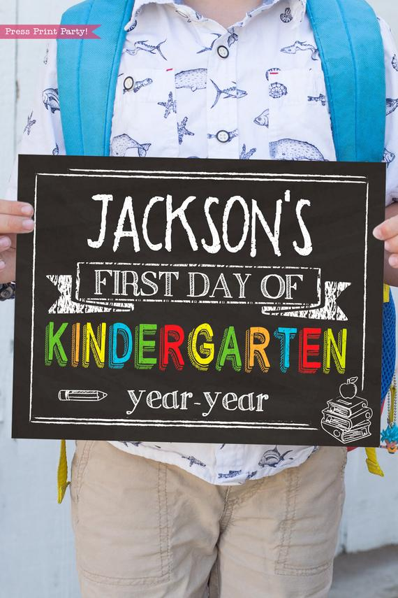first day of school sign printable chalkboard. last day of school sign editable. First day of kindergarten - Press Print Party!
