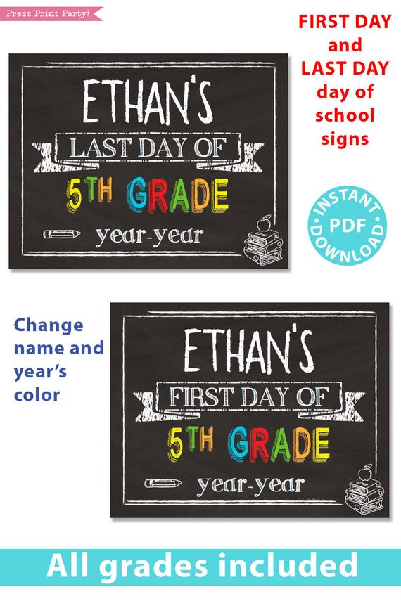 image relating to First Day of School Sign Printable identified as Very first/Very last Working day of College or university Indicators Printable, Chalkboard Vibrant