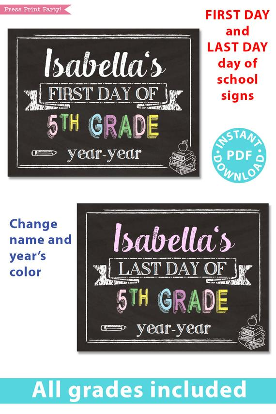 photograph about First Day of Kindergarten Sign Printable titled Very first/Closing Working day of Higher education Symptoms Printable, Pastel Chalkboard