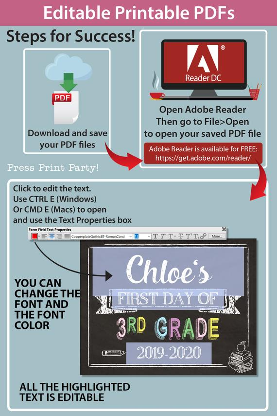 how to use editable printable pdf for first day of school signs. you can change the font and the font color - Press Print Party!
