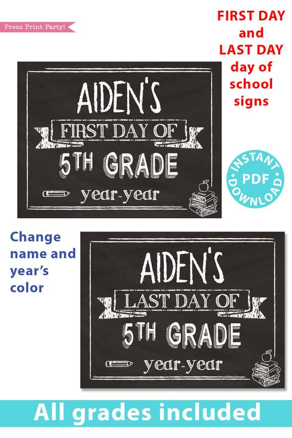 photo relating to First Day of 5th Grade Printable identified as Initial/Very last Working day of College Indications Printable, White Chalkboard 1