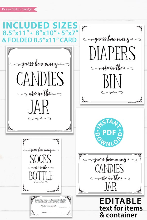 Guess How Many Game Sign Printable, w Editable Text for Items & Container Baby Shower Sign Printable, With Editable Name game baby shower game printable sign instant download Press Print Party!