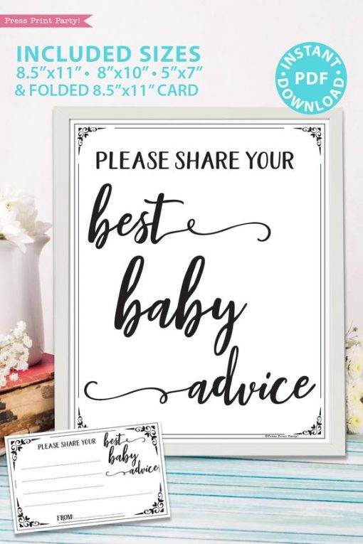 Please share your best baby advice - mom advice card - sign and card - game baby shower game printable games instant download Press Print Party!