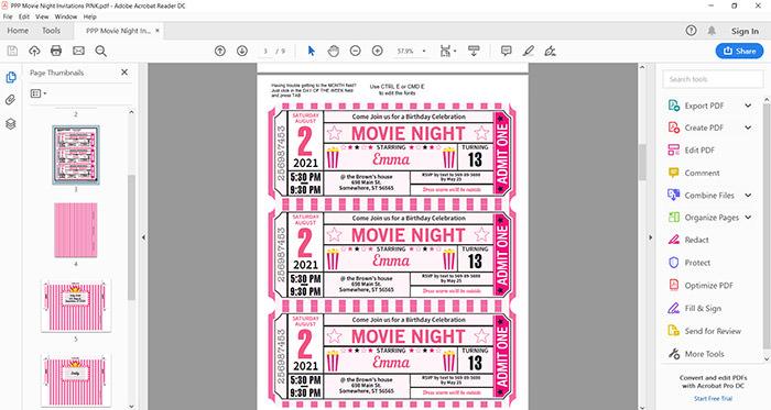 Movie Night invitation printable file press print party!
