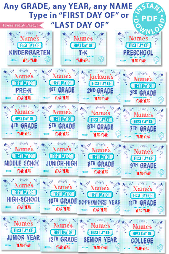 first day of school sign printable blue notebook style. last day of school sign editable. all grades from preschool and kindergarten to 12th grade.- Press Print Party!