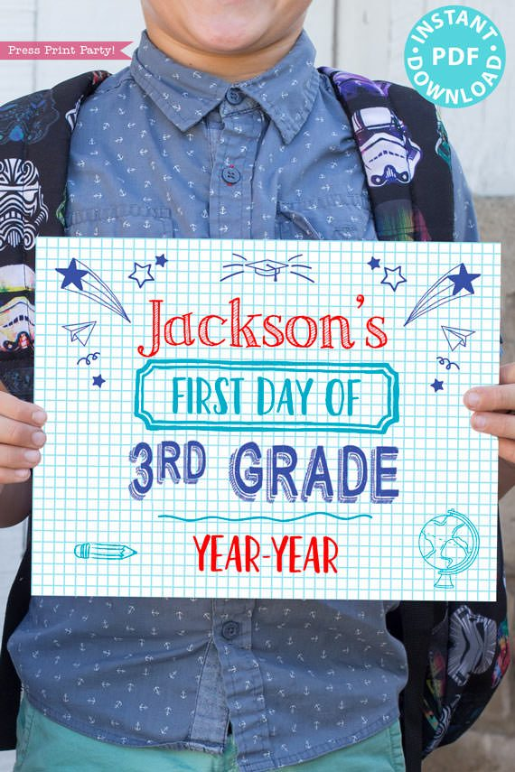 first day of school sign printable notebook style. last day of school sign editable. First day of 3rd grade - Press Print Party!