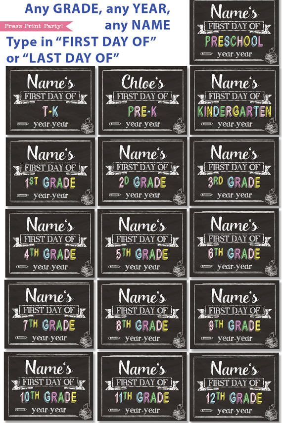 first day of school sign printable white chalkboard. last day of school sign editable. all grades from preschool and kindergarten to 12th grade.- Press Print Party!