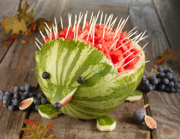 watermelon carving hedgehog. cheap party food option party on a budget food ideas