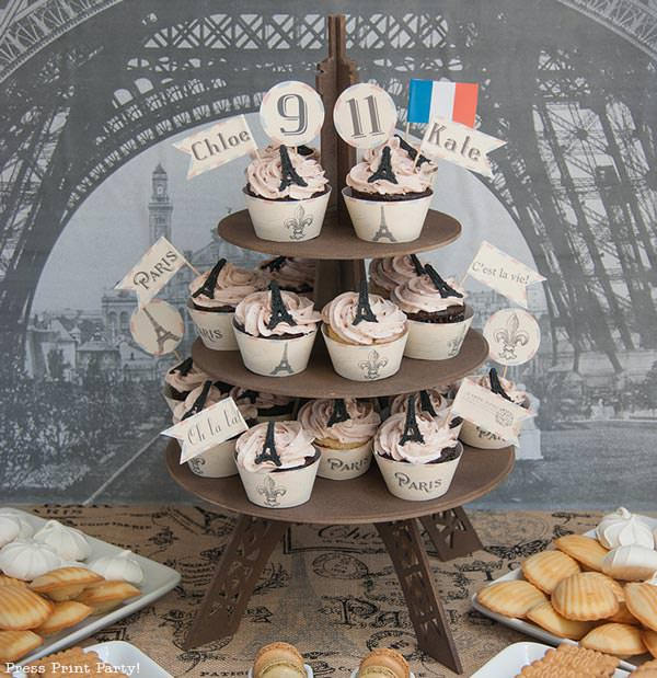paris party cupcake tower. french party by Press Print Party!