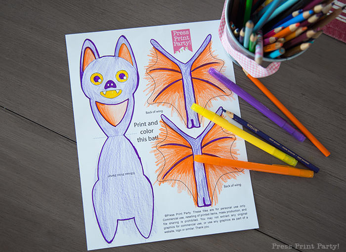 Free printable Halloween craft for kids - printable bat coloring page - Press Print Party! DIY Halloween decoration ideas.