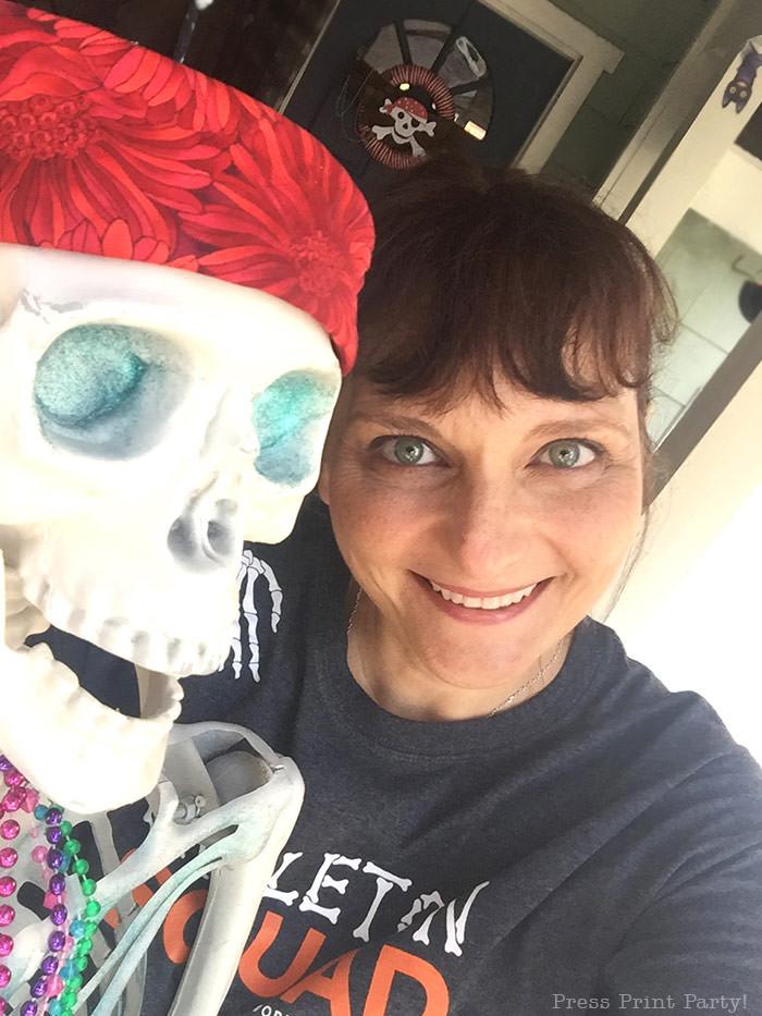 me and a skeleton mermaid. Press Print Party!