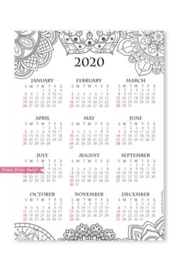 2020 printable calendar template, one page calendar printable, print a calendar, 2020 year planner printable, sunday or monday start, for bullet journals or household binders, A5 planner, pdf, instant download, Monthly Planner, Bullet Journal Printable, planner supply, bujo, bullet journal ideas, bujo ideas, bullet journal for beginners, Press Print Party!cute, coloring, mandala