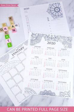 2020 printable calendar template, 2020 monthly calendar printable, one page calendar printable, print a calendar by month, 2020 year planner printable, sunday or monday start, for bullet journals or household binders, A5 planner, pdf, instant download, Daily trackers, daily routine, habit tracker, Bullet Journal Printable, Monthly Planner supply, bullet journal ideas, bujo ideas, bullet journal monthly layout for beginners, bujo supplies, monthly spread, Press Print Party! cute, coloring, mandala, cute, coloring, mandala,