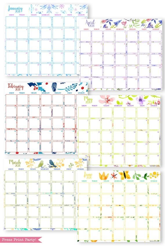 2020 printable calendar template, 2020 monthly calendar printable, print a calendar by month, 2020 year planner printable, sunday or monday start, for bullet journal calendars or for household binders, A5 planner, bujo, pdf, instant download, Bullet Journal Printable, Monthly Planner bullet journal ideas, bujo ideas, bullet journal monthly layout for beginners, bujo supplies, monthly spread, January, february, march, april, may, june, july, august, september, october, november, december. Planner supply, Press Print Party! Beautiful watercolor design