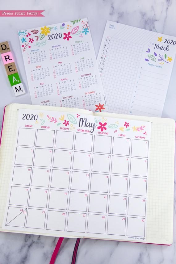 2020 printable calendar template, 2020 monthly calendar printable, one page calendar printable, print a calendar by month, 2020 year planner printable, sunday or monday start, for bullet journal calendars or for household binders, A5 planner, pdf, instant download, Daily trackers, daily routine, habit tracker, Bullet Journal Printable, Monthly Planner supply, bullet journal ideas, bujo ideas, bullet journal monthly layout for beginners, bujo supplies, monthly spread, Press Print Party! cute, whimsical colorful design