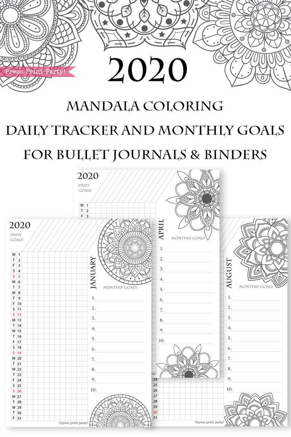 2020 Daily Routine Printables Monthly Habit Tracker Mandala Press Print Party