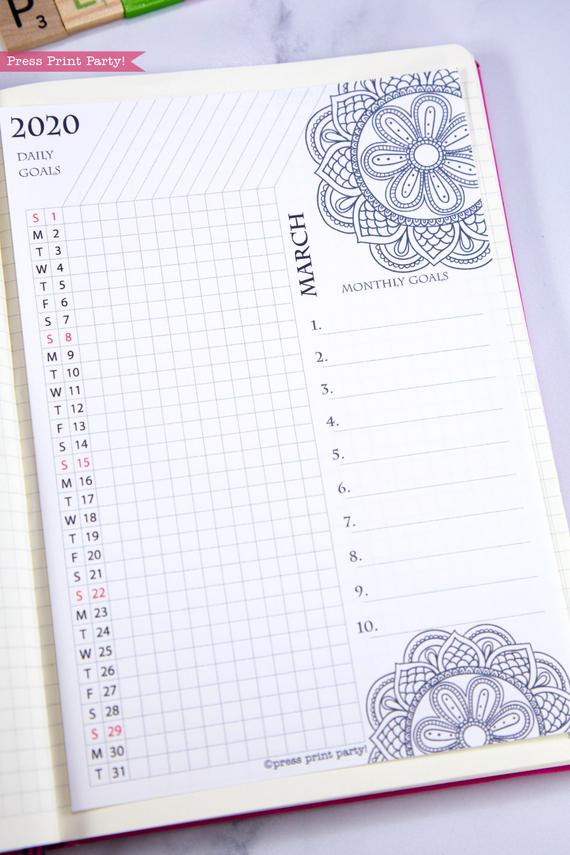 2020 Daily trackers, daily routine, bujo habit tracker, 2020 printable calendar template, 2020 monthly calendar printable, bujo ideas, 2020 year planner printable, for bullet journals or household binders, A5 planner, pdf, bujo, instant download, Bullet Journal Printable, Monthly Planner supply, bullet journal ideas, bujo ideas, bullet journal monthly layout for beginners, bujo supplies, January, february, march, april, may, june, july, august, september, october, november, december.Press Print Party! cute, coloring, mandala,