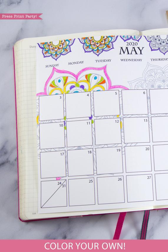 2020 bullet journal monthly calendar  mandala