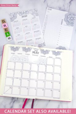 2020 printable calendar template, 2020 monthly calendar printable, one page calendar printable, print a calendar by month, 2020 year planner printable, sunday or monday start, for bullet journals or household binders, A5 planner, pdf, instant download, Daily trackers, daily routine, habit tracker, Bullet Journal Printable, Monthly Planner supply, bullet journal ideas, bujo ideas, bullet journal monthly layout for beginners, bujo supplies, monthly spread, Press Print Party! cute, coloring, mandala,