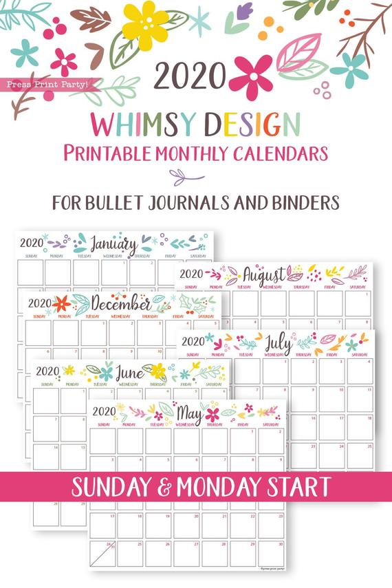 2020 Monthly Calendar Template Printables Whimsy