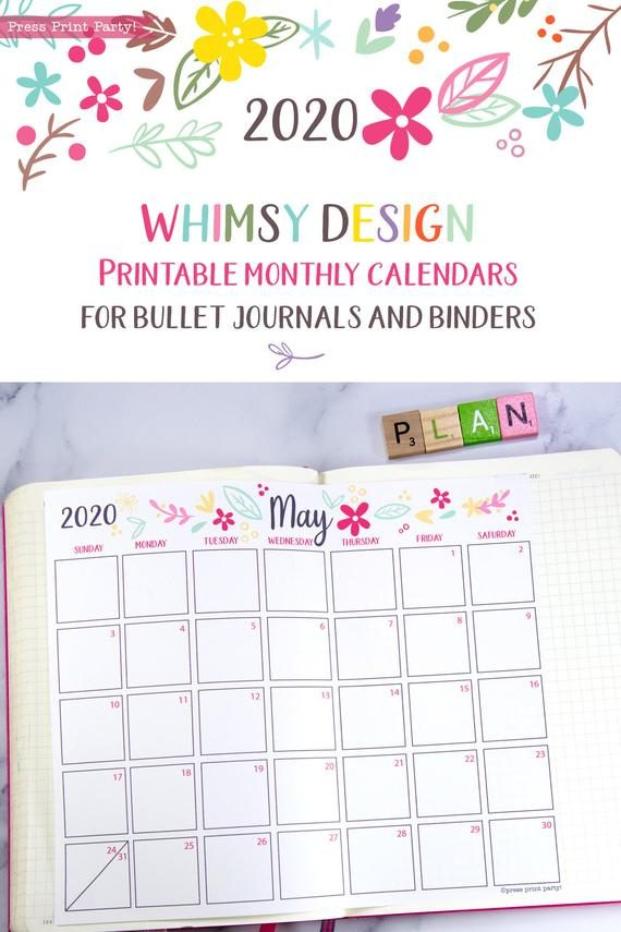 2020 printable calendar template, 2020 monthly calendar printable, print a calendar by month, 2020 year planner printable, sunday or monday start, for bullet journal calendars or for household binders, A5 planner, bujo, pdf, instant download, Bullet Journal Printable, Monthly Planner bullet journal ideas, bujo ideas, bullet journal monthly layout for beginners, bujo supplies, monthly spread, January, february, march, april, may, june, july, august, september, october, november, december. Planner supply, Press Print Party! cute, whimsical colorful design