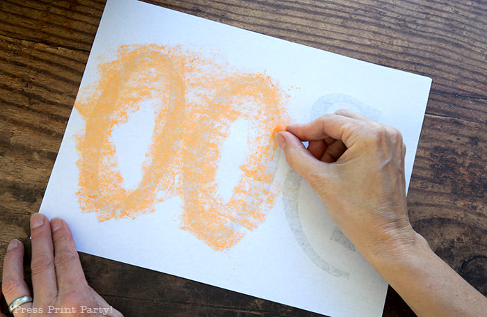 How to do chalk lettering on a chalkboard pumpkin step 1- Press Print Party!