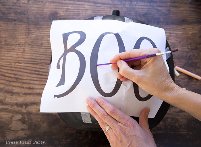 How to do chalk lettering on a chalkboard pumpkin step 3- Press Print Party!