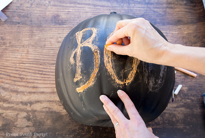 How to do chalk lettering on a chalkboard pumpkin step 5- Press Print Party!
