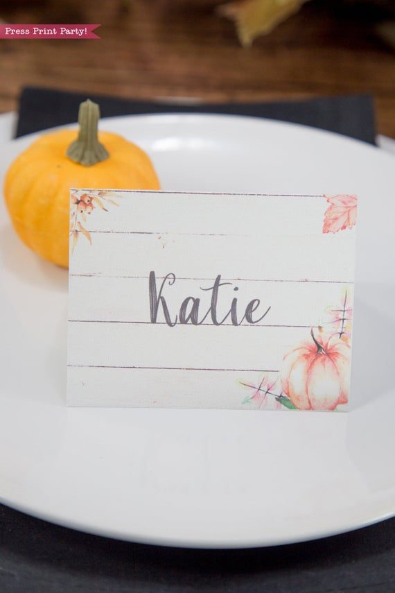 Thanksgiving place cards printable, thanksgiving table decor, pumpkin svg, instant download, pdf, Thanksgiving table setting ideas, tent card, food card, pumpkin decor, pumpkin printable, Farmhouse decor, white wood, rustic place cards. Press Print Party!