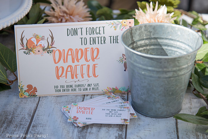 diaper raffle sign printable with tickets. Woodland animals Baby Shower Theme with woodland creatures and forest animals party supplies. Woodland decoration girl baby shower ideas. Can be used for woodland birthday party. Rustic forest animals with flowers and antlers. Fox baby shower, Deer baby shower.
