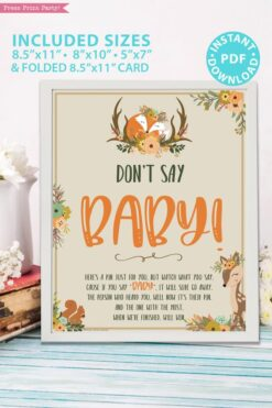 dont' say baby game sign - 8x10, 5x7, 8.5x11, Woodland baby shower games and signs w woodland creatures and forest animals like a cute fox, deer, and squirrel. Press Print Party Instant Download