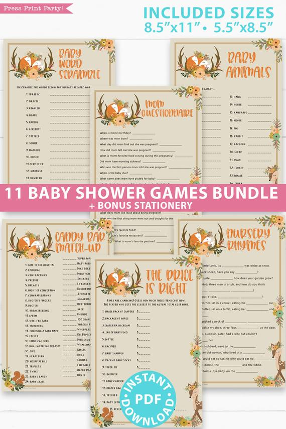 printable Instant Download P116 Pink forest animals Baby Shower Game party pack Woodland Baby Shower Girl Game Package 8 Printable Games