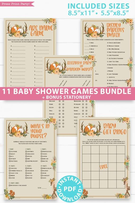 Woodland baby shower games and signs w woodland creatures and forest animals like a cute fox, deer, and squirrel. Games like Baby animals - Baby word scramble - Mom questionnaire - Nursery rhymes - Candy bar match-up Baby gift bingo - What's in your purse? - The price is right - ABC name game - Disney parents match - Stationery - Press Print Party, Instant Download