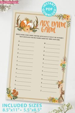 abc name game - Woodland baby shower games and signs w woodland creatures and forest animals like a cute fox, deer, and squirrel. Press Print Party Instant Download