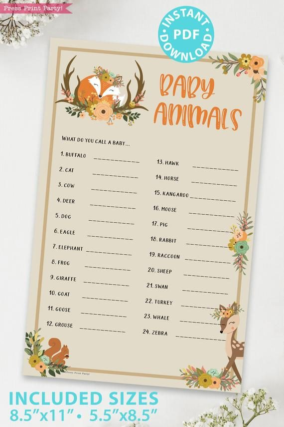 baby animals - Woodland baby shower games and signs w woodland creatures and forest animals like a cute fox, deer, and squirrel. Press Print Party Instant Download