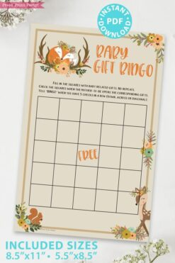 baby girft bingo - Woodland baby shower games and signs w woodland creatures and forest animals like a cute fox, deer, and squirrel. Press Print Party Instant Download