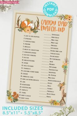 candy bar match up game - Woodland baby shower games and signs w woodland creatures and forest animals like a cute fox, deer, and squirrel. Press Print Party Instant Download