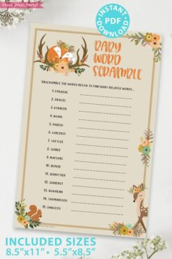 Baby Word Scramble - Woodland baby shower games and signs w woodland creatures and forest animals like a cute fox, deer, and squirrel. Press Print Party Instant Download