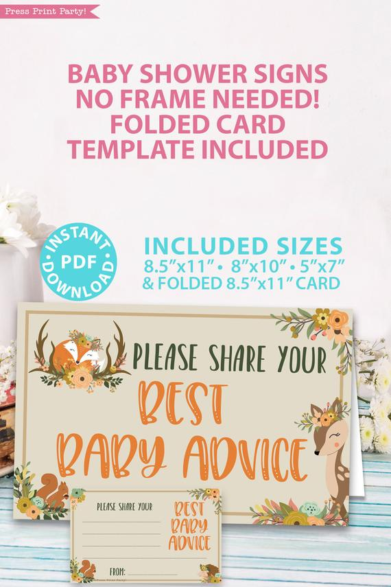 please give your best baby advice - with card - Woodland baby shower games and signs w woodland creatures and forest animals like a cute fox, deer, and squirrel. Press Print Party Instant Download
