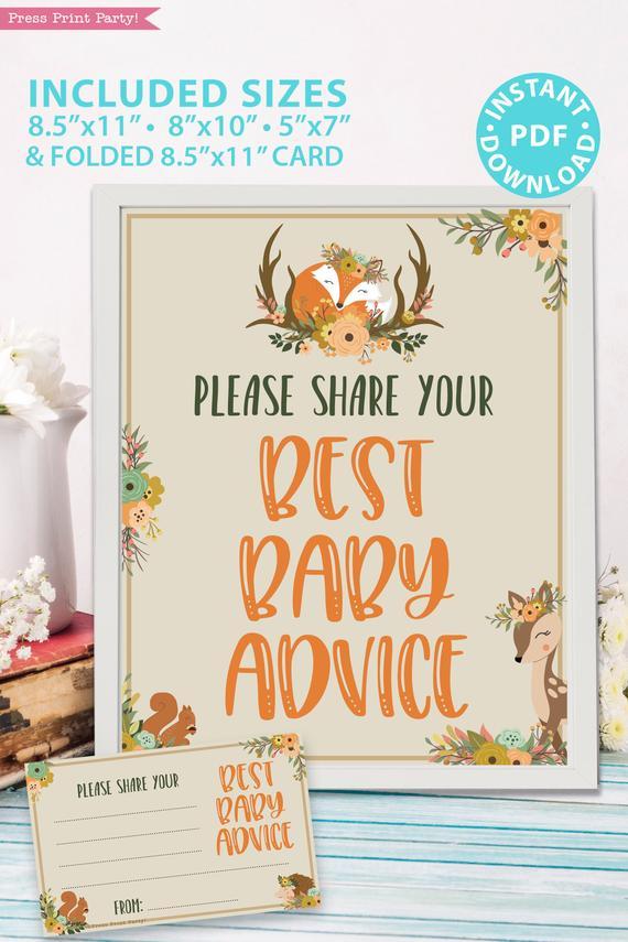 Mom S Advice Card Printable Woodland Theme Press Print Party