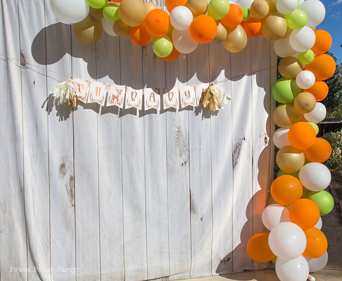 Oh baby banner woodalnd theme baby shower forest animals. with organic balloon garland in orange, gold, green, and white. White wood backdrop. Woodland animals Baby Shower Theme with woodland creatures and forest animals party supplies. Woodland decoration girl baby shower ideas. Can be used for woodland birthday party. Rustic forest animals with flowers and antlers. Fox baby shower, Deer baby shower.