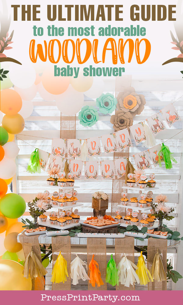 The ultimate guide to the most adorable woodland baby shower. Woodland animals Baby Shower Theme with woodland creatures and forest animals party supplies. Woodland decoration girl baby shower ideas. Can be used for woodland birthday party. Rustic forest animals with flowers and antlers. Fox baby shower, Deer baby shower. Banner, invitation, thank you cards, backdrop, food ideas, kit, Woodland Baby shower game printables. Downloadable templates. , Press Print Party!