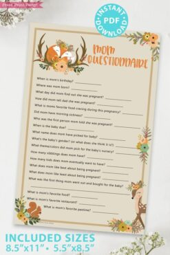 mom questionnaire - Woodland baby shower games and signs w woodland creatures and forest animals like a cute fox, deer, and squirrel. Press Print Party Instant Download