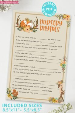 nursery rhyme - Woodland baby shower games and signs w woodland creatures and forest animals like a cute fox, deer, and squirrel. Press Print Party Instant Download