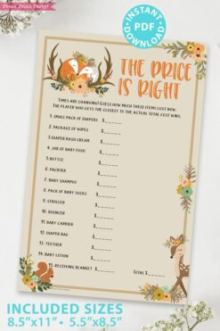 The price is right - Woodland baby shower games and signs w woodland creatures and forest animals like a cute fox, deer, and squirrel. Press Print Party Instant Download