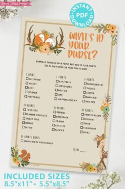whats in your purse - Woodland baby shower games and signs w woodland creatures and forest animals like a cute fox, deer, and squirrel. Press Print Party Instant Download